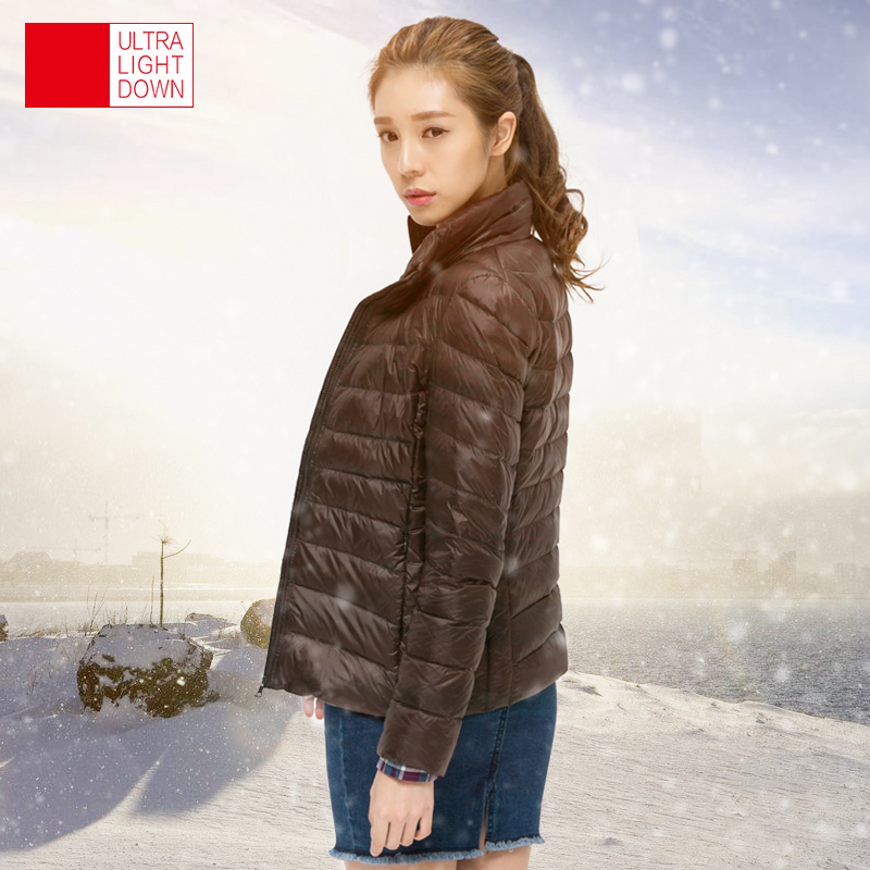 TECHOME Woman Stand Collar Slim Short Ultra Light Down Jackets Female Wear Coat Parkas Plus Size 3XL Parkas Mujer Invierno 2017