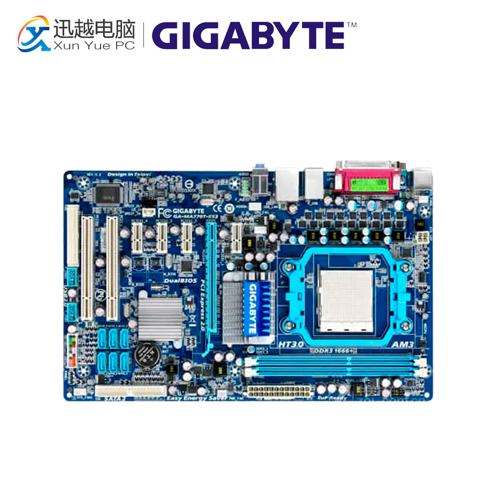 Gigabyte GA-MA770T-ES3 Desktop Motherboard 770 Socket AM3 DDR3 SATA2 USB2.0 ATX gigabyte ga ma785gmt us2h original used desktop motherboard amd 785g socket am3 ddr3 sata2 usb2 0 micro atx