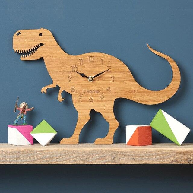 Silent 3D Modern Design Creative Dinosaur Wood Wall Clock Stickers Tyrannosaurus Rex Watch Wall Clocks For Bedroom Home Decor