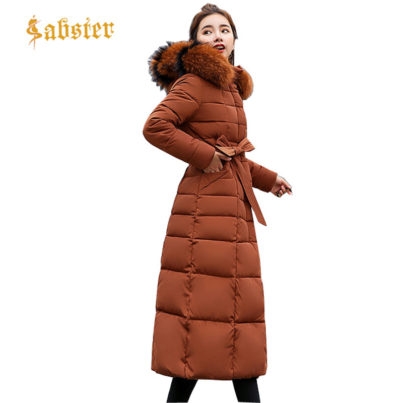New 2017 Winter Coat Women Long Warm Down   Parka   Plus Size Cotton Coat with belt Slim Female Outerwear Jacket ST119