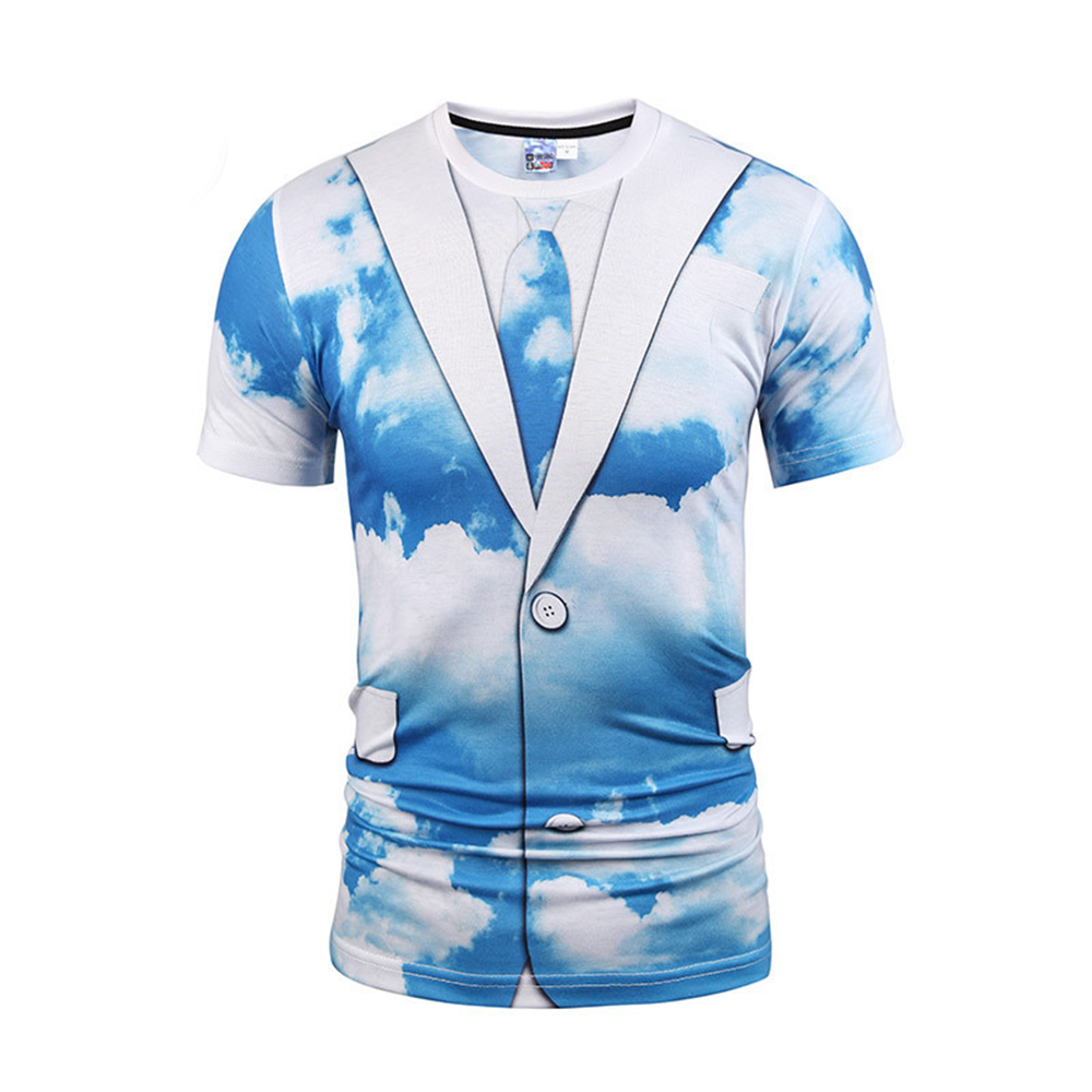 Blue Sky White Cloud 3D Tshirt Casual Fitness Harajuku Boys Streetwear Mens Hip Hop T-shirts Fake Two Piece Hot Sale Tshirts