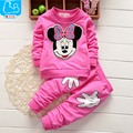 Trajes del deporte Los Niños Que Arropan el sistema Mickey Ropa Del Bebé Camisetas de Algodón + Deporte Pantalones Roupas Bebes Marca Baby Girl Sistema de la ropa