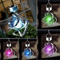High Quality 2pcs Solar Powered Color Changing Wind Spinner LED Light Hang Spiral Garden Lawn Lamp Decoration