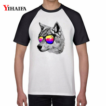 Summer T-shirt Wolf 3D Print T-Shirt Mens Womens Cool Animal Graphic Tees Casual Tops White T shirt Cotton Unisex Top