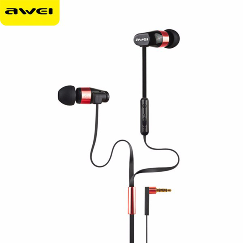 Awei ES-12Hi 3.5mm Earphone With Microphone HiFi Stereo Wired Earphones Noise Cancelling For Samsung For IPhone Smartphones kz ed8m earphone 3 5mm jack hifi earphones in ear headphones with microphone hands free auricolare for phone auriculares sport