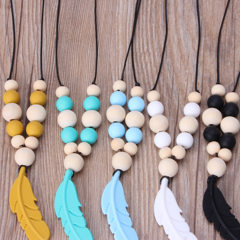 Купить с кэшбэком Baby Infant Silicone Feather Jewelry Teething Necklace Baby Nursing Chewing Toys