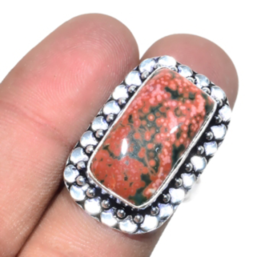 Ocean Jaspers Ring Silver Overlay over Copper Size 8 5 R4823 in Rings from Jewelry Accessories