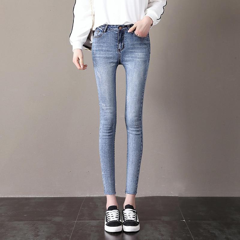 2018 stretch light gray blue jeans jeans women's jeans