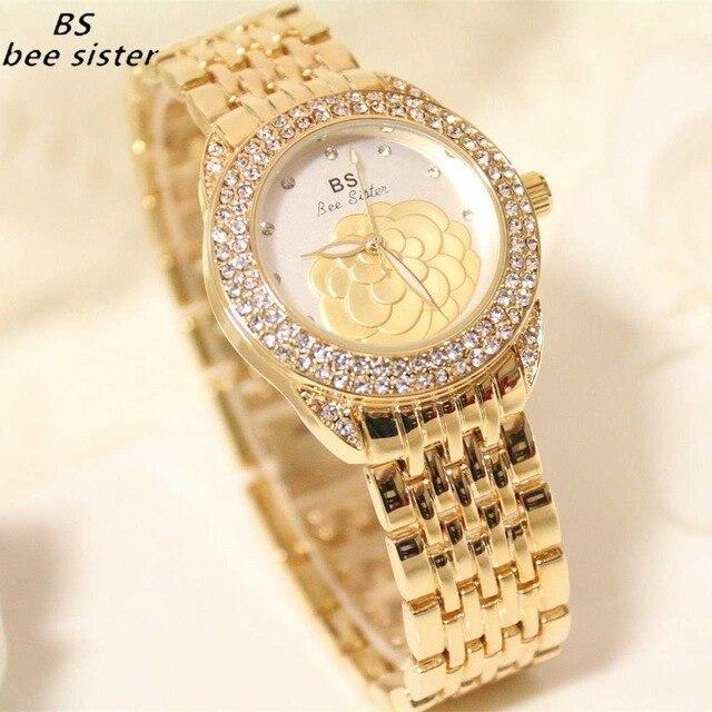 BS brand Watch Luxury Fashion Diamond Watches Quartz Gold Ladies Wristwatch Casu