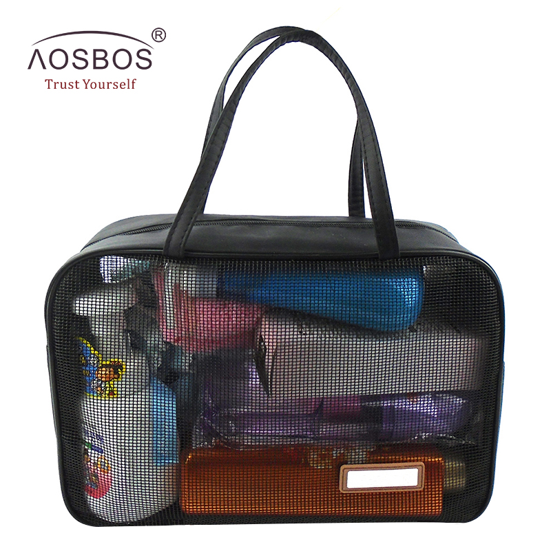 Aosbos New Portable Mesh Breathable Makeup Bag Waterproof Transparent Cosmetic Bags Pouch Black Travel Organizer Storage Bag 1 pcs tpu transparent cosmetic bag square shape portable zipper makeup storage bags for travel