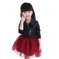 2017 new brand baby girl winter dress PU leather jacket with mesh dress princess baby dress long sleeve incline zipper dress