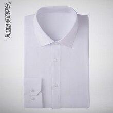 VAGUELETTE Formal Shirts For Men Long Sleeve Shirt Men Cotton Solid White/Black/Pink/Blue Dress Shirts For Men With Pocket S-3XL