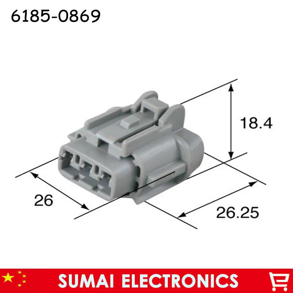 Prise de voiture femelle 6185-0869 3 broches 2.3mm, connecteur électrique automatique pour moto de voiture Sumitomo etc.