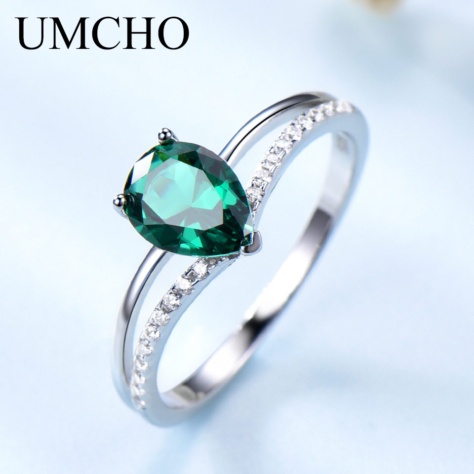 UMCHO Real 925 Sterling Silver Created Nano Emerald Water Drop Rings High Grade Elegant Jewelry For Mothers Gifts Fine JewelryUMCHO Real 925 Sterling Silver Created Nano Emerald Water Drop Rings High Grade Elegant Jewelry For Mothers Gifts Fine Jewelry