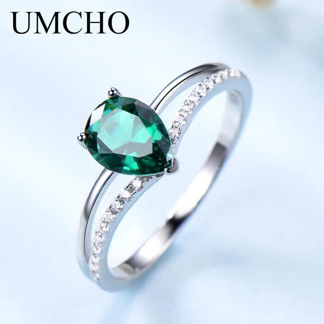 9ef858ac8a6a UMCHO Real 925 plata esterlina creado Nano Esmeralda gota de agua anillos  de alta calidad elegante