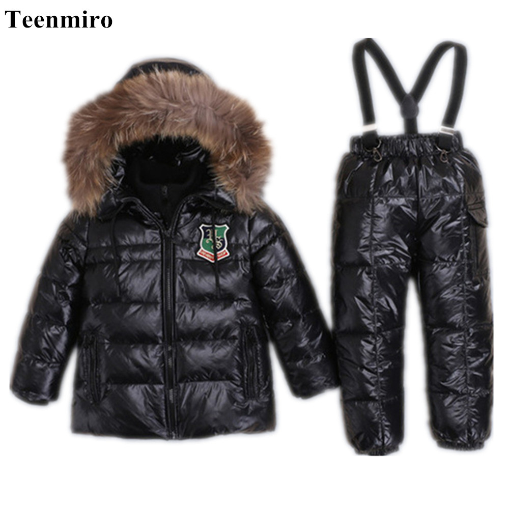 -30 Winter Snowsuit Children Clothing Set 90% Duck Down Jacket+Pants Boys Parka Jackets Coat Snow Wear Girl Clothes for New Year