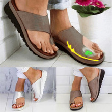 Women PU Leather Shoes Comfy Platform Flat Sole Ladies Casual Soft Big Toe Foot Correction Sandal Orthopedic Bunion Corrector cheap Synthetic Leather Women Comfy Platform Sandal Shoes Black Yellow Purple Gold Silver Copper Leopard