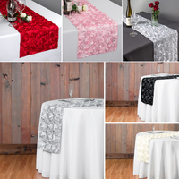 Free Shipping 10pcs/Lost Red 3D Rosette Satin Embrodiery Table Runner For Wedding Party Banquet Table Decoration 30x275cm