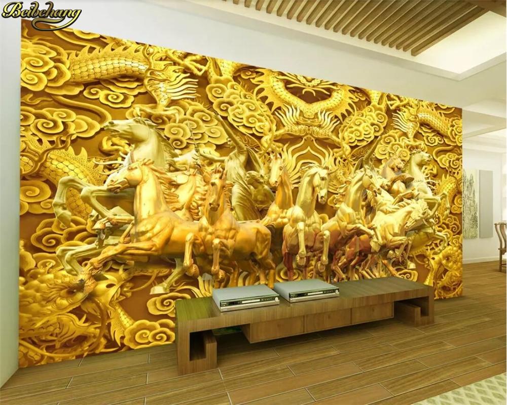 Us 81 46 Offbeibehang Custom Wallpaper Longma Spirit Gold Dragon Eight Horses Horse Gold 3d Tv Background Wall Papel De Parede 3d Wallpaper In