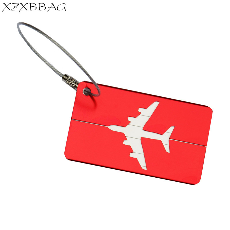 XZXBBAG 2PC Travel Accessories Aluminum Alloy Luggage Tag Rectangle Airplane Checking Baggage Name Label Suitcase Address Holder