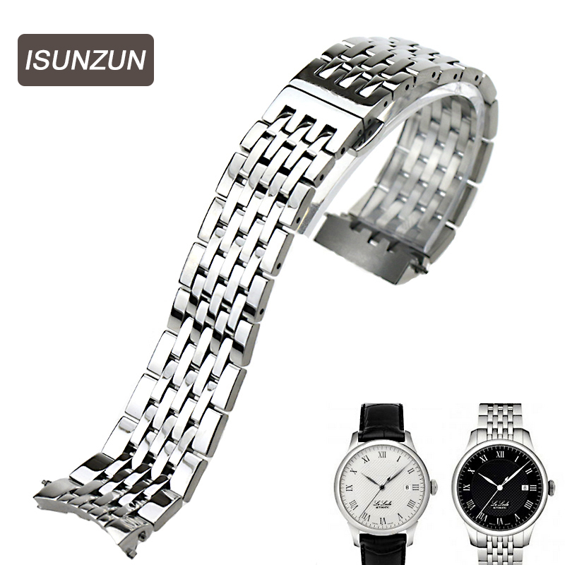 ISUNZUN 19mm Stainless Steel Watch Strap For Tissot For Lelocle 1853 For T41 Watches Band Silver/Gold Bracelet Belt Watch Straps