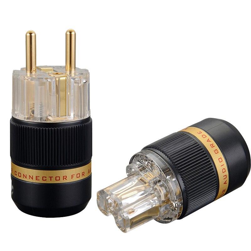 Здесь можно купить  VE511G+VF511G  Transparent 99.99% Pure Copper Gold Plated EUR Schuko Hifi Audio Power Cord Cable Power Plug IEC Female Connector  Бытовая электроника
