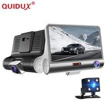 "QUIDUX 4.0 ""Cámara del coche DVR de Doble Lente con retrovisor Registrador tres cámara de visión Nocturna coche dvr de Vídeo Videocámara dashcam"