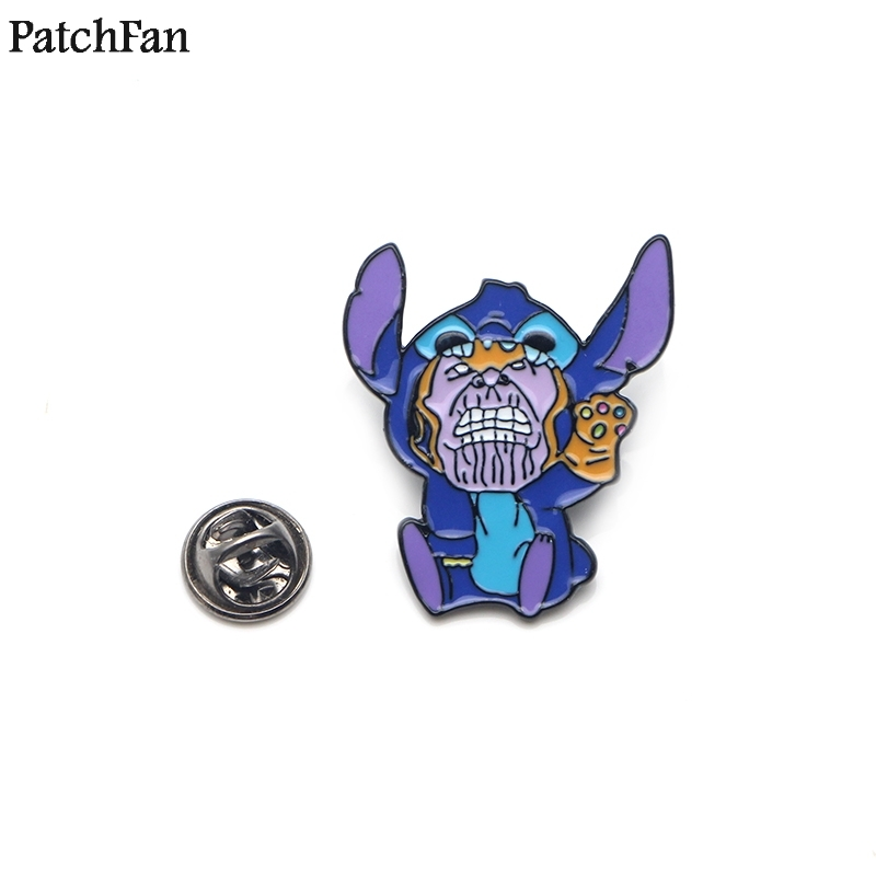 20pcs/lot Patchfan Stitch Thanos Cartoon Zinc Tie Pins Backpack Clothes Brooches For Men Women Hat Decoration Badges Medal A1481 Apparel Sewing & Fabric Badges