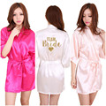 Kimono Robe Faux Silk Women Wedding Preparewear Bride Team Heart Golden Glitter Print Robes Bachelorette Pajamas Free Shipping