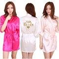 Kimono Robe de Seda Faux Mulheres Casamento Preparewear Noiva Equipe Bachelorette Coração Glitter Dourado Imprimir Robes Pijama Frete Grátis