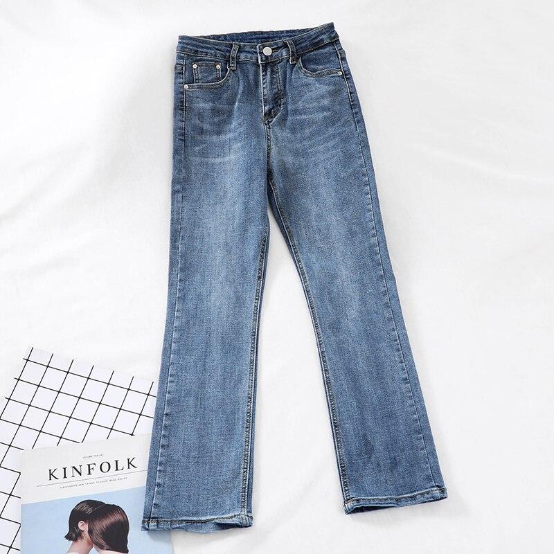 2019 new fashion women's jeans Casual High waist elastic straight pants simple retro jeans long pants tide G784