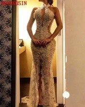 цена Sexy Lace Long Party Dresses  Fake Pearls Mermaid Evening Gowns Halter Floor Length Formal Split Front Transparent Prom Dress в интернет-магазинах