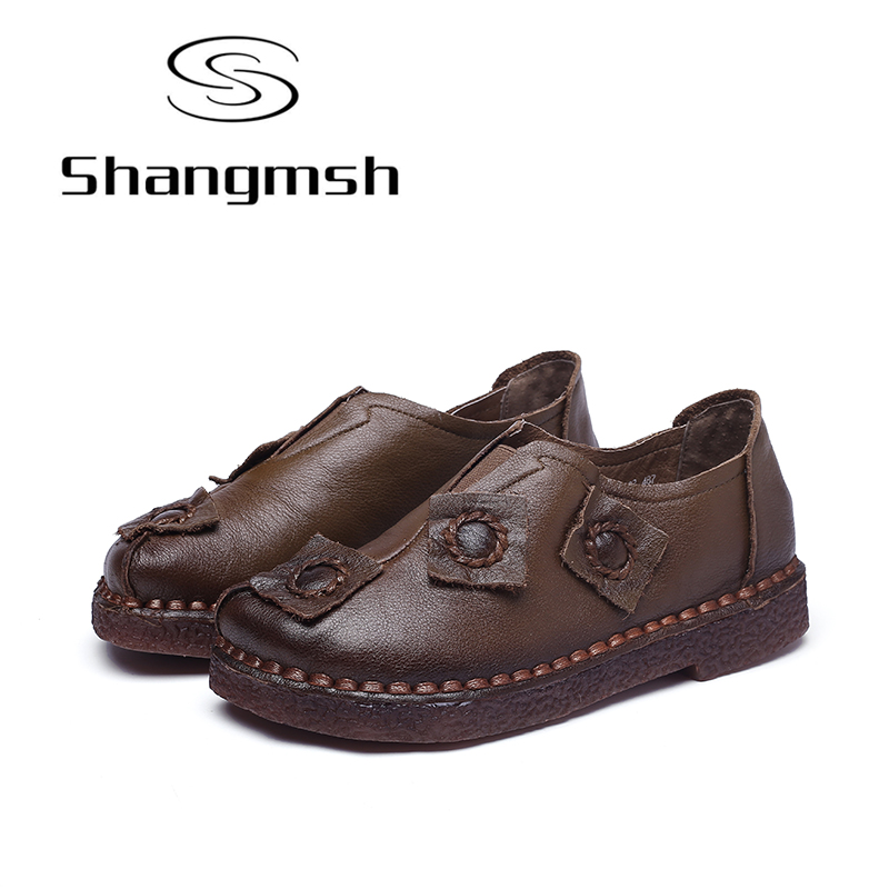 Shangmsh Women's Moccasin Shoes 2017 Autumn Female Genuine Leather Casual Shoes Handmade Comfortable Slip On Solid Flats Loafers chilenxas 2017 new spring autumn soft leather breathable comfortable shoes flats men casual fashion solid slip on handmade