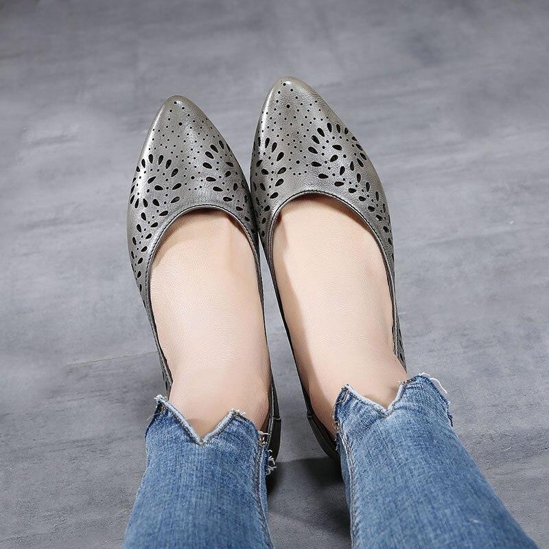 Pointu Appartements Doux Occasionnels Actmdall Grey Cuir Femmes En white khaki Profonde Véritable D'été Creux Fond 2018 Plat Femelle Chaussures Peu fXxtwqB1Wz