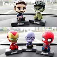 Avengers Figur Iron man Green Giant Schütteln Kopf Auto Ornamente Autos Interior Dashboard Auto Zubehör