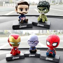 Avengers Figurine Iron man Spiderman Green Giant Shaking Head Car Ornaments Automobiles Interior Dashboard Car Accessories(China)