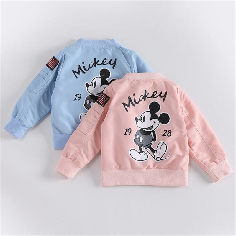 Baby Clothes Cartoon Mickey Pattern Girls Boys Jackets Coats Toddler Kids Jacket Outwear Baseball Windproof Children Clothes New 5