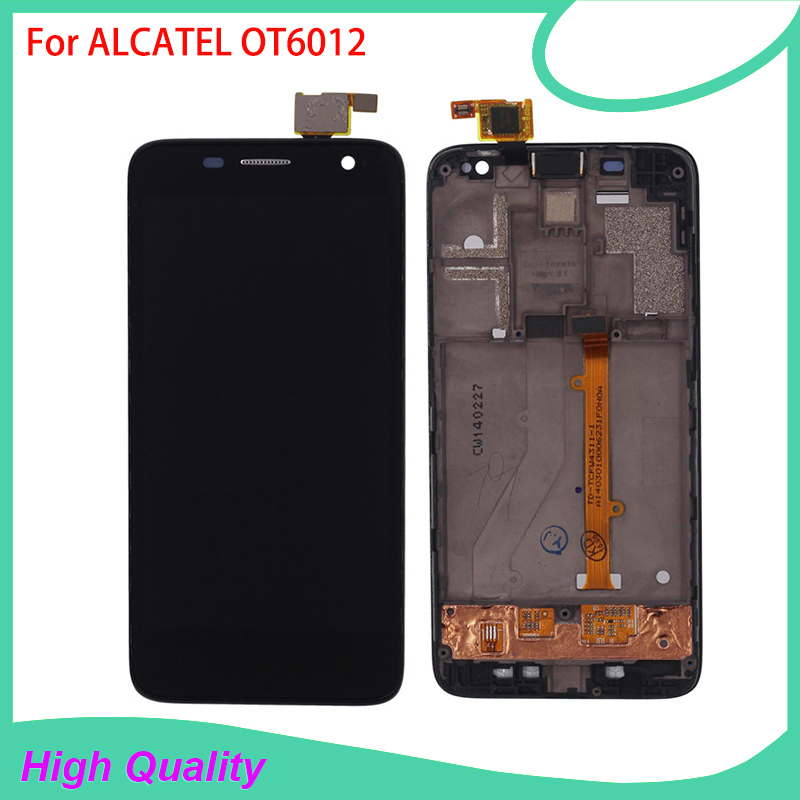 Лидер продаж ЖК-дисплей Дисплей с Рамки для <font><b>Alcatel</b></font> ot6012 6012 Сенсорный экран черный Цвет 100% гарантия Сенсорные панели для телефонов