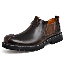 Ankel Motorcyle Boots Men Leather Oxford Shoes Man Handmade Business Boots Flats Slip On Shoes Plus Size 38-44