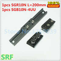 28mm width Rectangle wheel Linear Guide Rail 1pcs SGR10N Length=200mm with SGB10N-4UU four wheel slide block for CNC parts