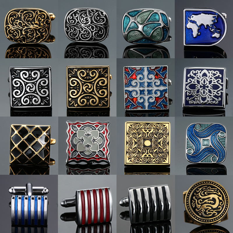 XKZM New Men's Shirts Cufflinks Luxury Jewelry Brand Of High-grade Mahogany Carbon Fiber Retro Pattern Cufflinks Free Shipping