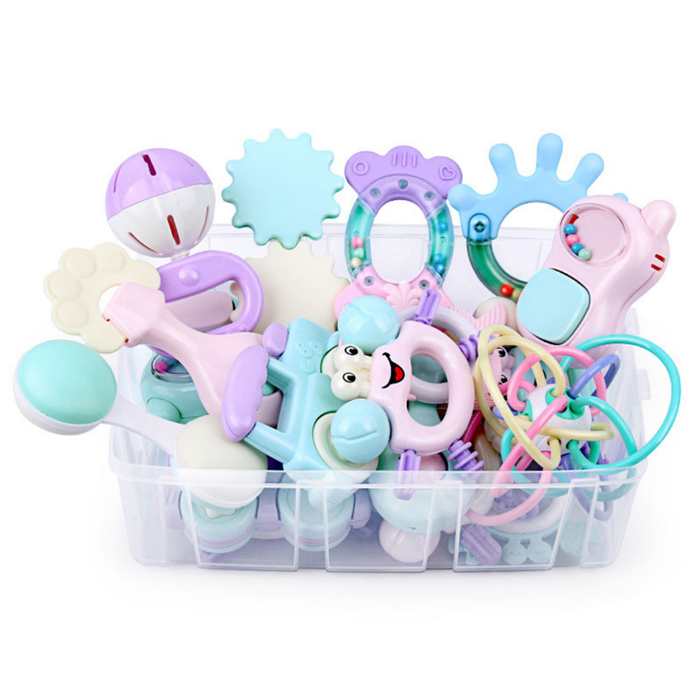 Baby Kids Sensory Teether Rattles Toys Set Newborn Hand Shaking Bell Toys Music Hand Shake Bed Plastic Animal  Gift Educational