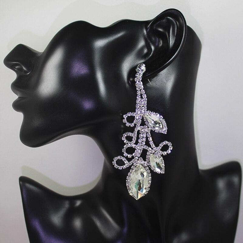 Dubbele schudden Crystal Flowe grote lange oorbellen opknoping pave - Feestversiering en feestartikelen - Foto 1