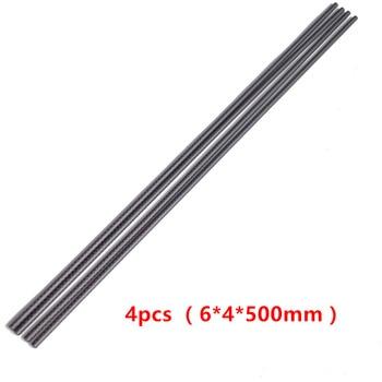 4 unids/lote 3K tubo de fibra de carbono 6*4*500mm 6mm Tubo para aeroplano RC Aerobatics Kite Rod manillar de carbono