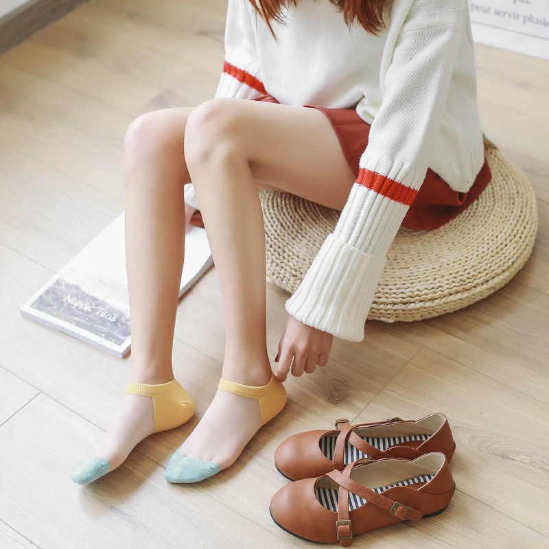 薄手の靴下の女性セクシーなファッションのヒットカラーカード靴下つま先ヒール綿シルク ocks 春夏新 2019 日本韓国女性