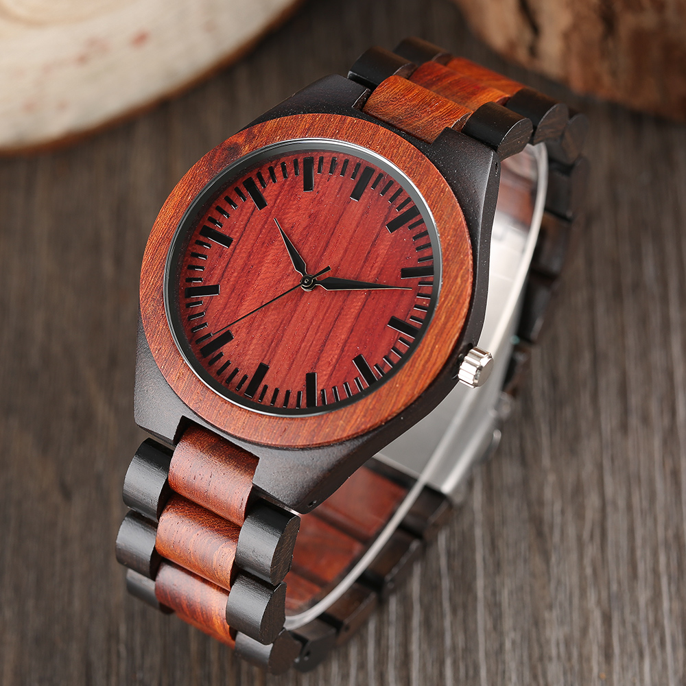 Men's Fashion Nature Wood Wrist Watch Novel Handmade Sport Simple Full Wooden Strap Bamboo Analog Watch Casual Women Gift simple handmade wooden nature wood bamboo wrist watch men women silicone band rubber strap vertical stripes quartz casual gift page 8