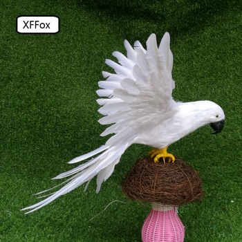new real life white parrot model foam&feather big simulation wings parrot bird gift about 50x65cm xf0245