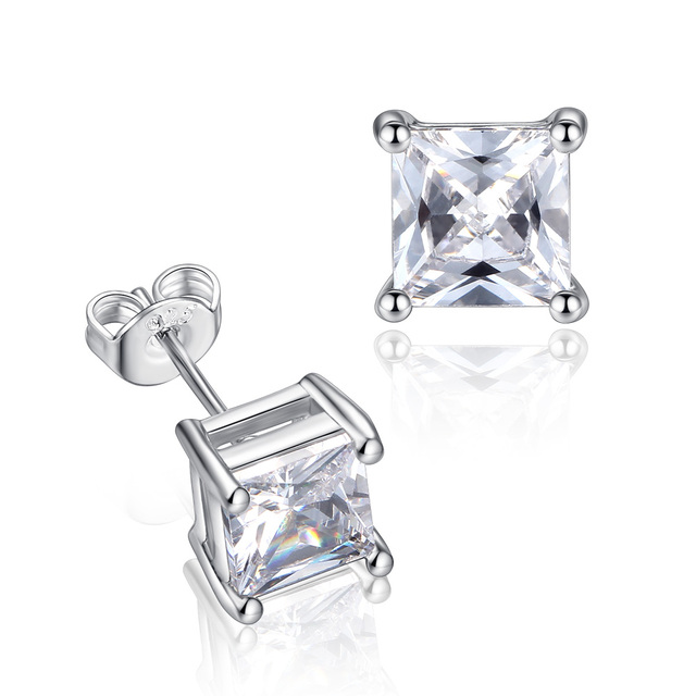 Whole 36pairs Lot Aaa Zirconia Earrings For Women 6mm Square Crystal Men
