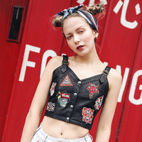 New Spring Summer AIGYPTOS Aporia As Women Novelty Personality Rock Punk Slim V Neck Embroidery Appliques