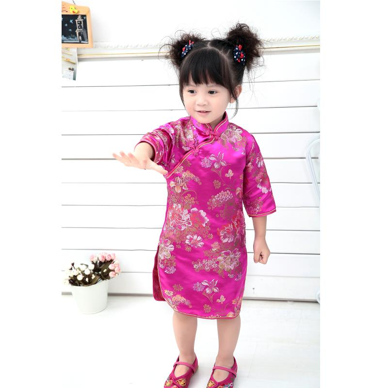 Peony Baby Girls Dress 2018 Chinese Qipao Clothes For Girls Jumpers Party Costumes Floral Children Chipao Cheongsam Jumper 2-16Y 4